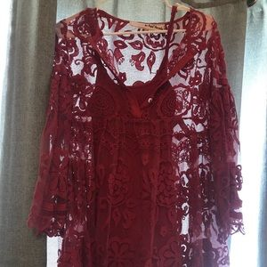 Free people lace dress with slip